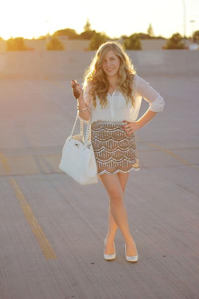 white chiffon Urban Planet blouse - studded bag le chateau bag