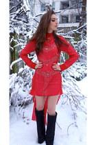 black Giuseppe Zanotti boots - red H&M Trend dress
