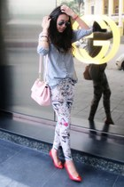 ivory printed leggings - pink Dolce & Gabbana bag