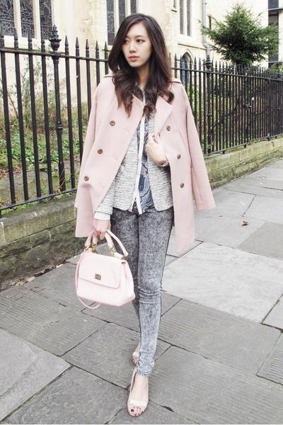 pink trench The Day coat - heather gray dyed French Connection jeans