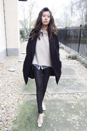 wool BCBG coat - warehouse jeans - Alexander McQueen scarf
