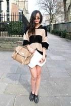 black Alexander McQueen boots - beige Topshop sweater - beige River Island bag