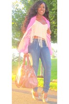 hot pink necessary clothing blazer - tan Rampage bag