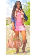 navy Forever 21 blazer - bubble gum H&M dress - tan Rampage bag
