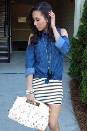 blue denim top - ivory judy Louis Vuitton bag - ivory Forever21 skirt