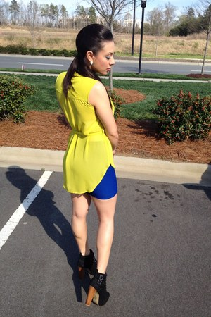 yellow Forever 21 top - black Bakers boots - blue Guess skirt