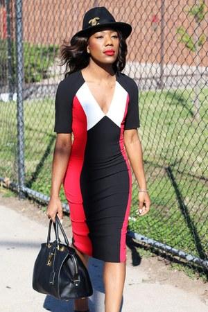 red asos dress - dark gray wool fedora Perry Ellis hat