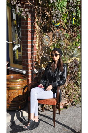 Forever 21 leggings - Purchased at a leather market in Florence jacket - Ray Ban