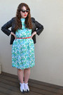 Turquoise-blue-vintage-dress-black-barneys-originals-jacket