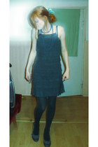 teal Vero Moda dress - teal Unknow tights - blue second hand heels