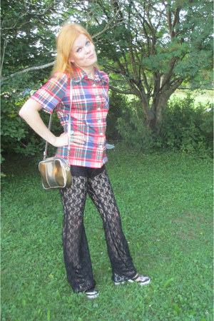 black lace Miracle Eye pants - bronze No doubt shoes - blue vintage shirt