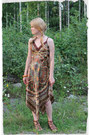Dark-brown-polyester-seppälä-dress-leather-vintage-bracelet-brown-sandals