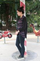 crimson collar H&M top - black cigarette jeans BDG jeans