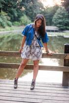 blue denim Indian Rose vest - off white floral print new look dress