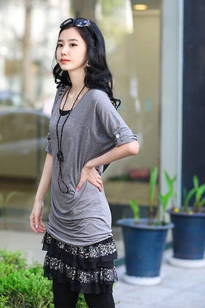 Korean Style Mid-Sleeve Cotton Long T-Shirt