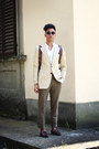 Crimson-castellani-shoes-camel-thrifted-blazer-white-korean-neck-zara-shirt