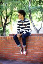 navy denim Zara jeans - cream stripes Zara sweater