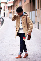 ivory striped Zara sweater - nude duffle coat Cortty coat