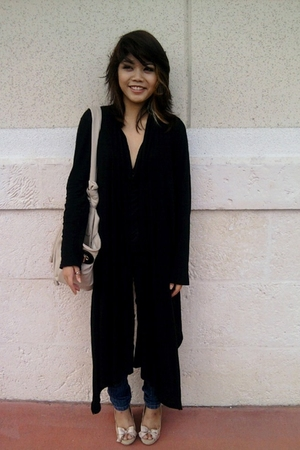 black cardigan - beige Zara shoes