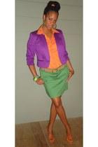 blazer - shirt - skirt - sandals