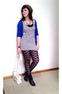Black-kmart-leggings-blue-valleygirl-cardigan-black-bardot-shoes-white-tem