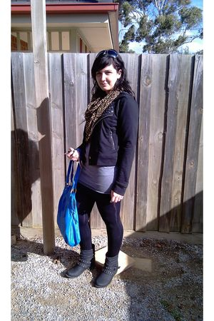 black  sweater - black Kmart tights - black rubi boots - blue cotton on purse - 