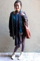 vintage jacket - vintage scarf - American Apparel sweater - forever 21 pants - f