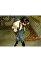 vintage jacket - Theory scarf - H&M top - Bullhead jeans - vintage boots