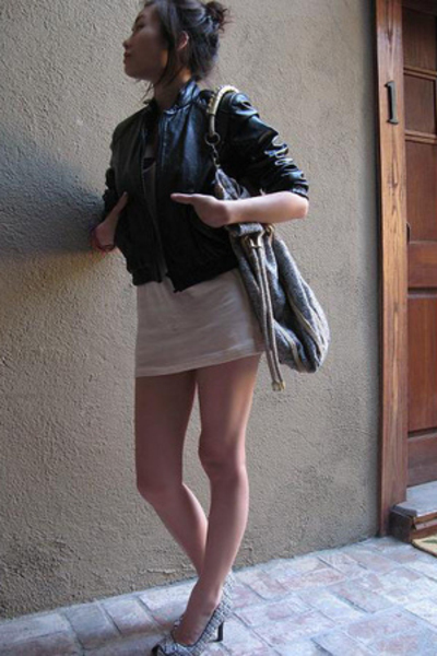 vintage jacket - American Apparel dress - American Apparel bra - vintage purse -