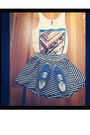Blue-shoes-shoes-the-beatles-shirt-shirt-black-white-strip-skirt-skirt