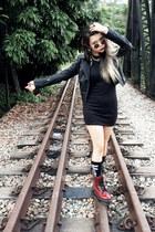Topshop jacket - Dr Martens boots - lipservice dress - Stance X Misfits socks