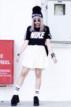 The Yub Shop hat - The Yub Shop skirt - nike t-shirt - TUK wedges