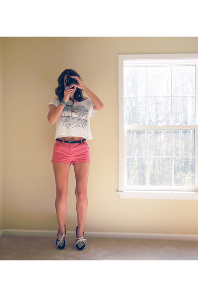 Steve Madden shoes - salmon coral shorts thrifted vintage shorts