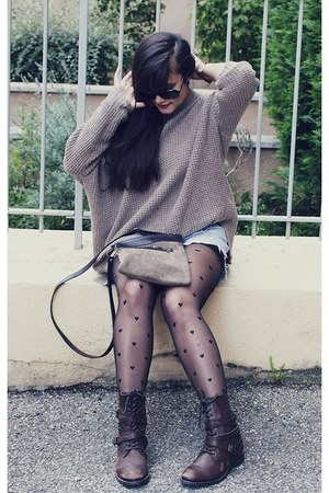 gray sweatshirt Mexx sweatshirt - Aldo boots - Thrift Store purse
