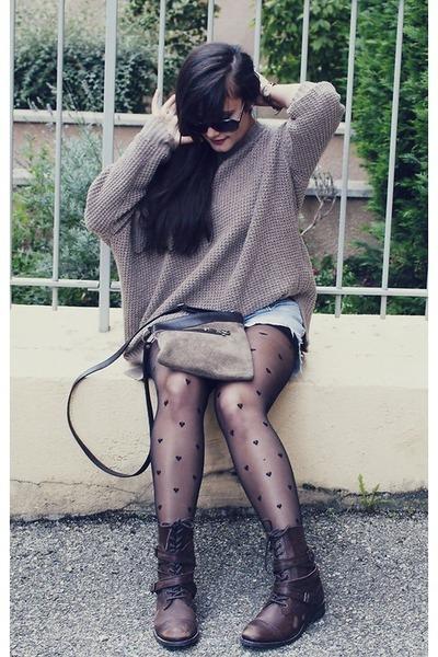 gray sweatshirt Mexx sweatshirt - Aldo boots - Thrift Store purse