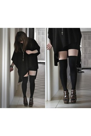 knee high socks thrifted vintage socks - American Apparel blouse - Aldo heels