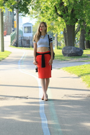 black Forever 21 bag - red Joe Fresh skirt - Aldo heels