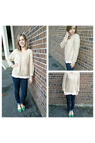 gold sweater - navy jeans jeans - dark green flats flats