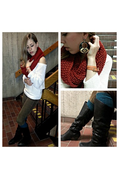 burnt orange knitted scarf - black leather boots - off white knitted sweater