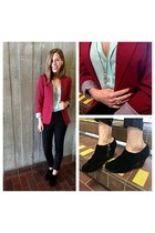 black wedge wedges - magenta structured blazer - black leather panel pants