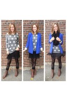 heather gray polkadot sweater - dark brown combat boots - blue boyfriend blazer