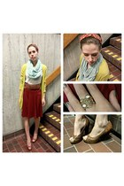 burnt orange retro skirt - sky blue infinity scarf - mustard long line cardigan