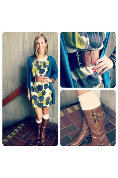 chartreuse dress dress - brown boots boots - off white socks socks