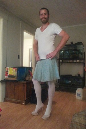 white Gap shirt - light blue thrift skirt - white Target stockings