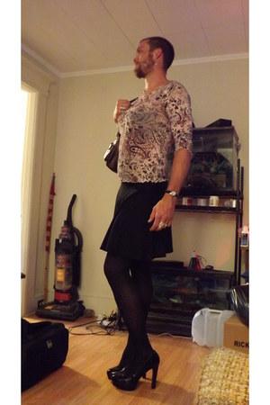 pink random brand shirt - dark brown random brand bag - black Target skirt