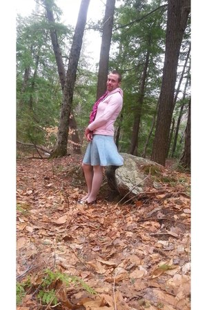 light blue thrift skirt - hot pink Target scarf - pink Target stockings