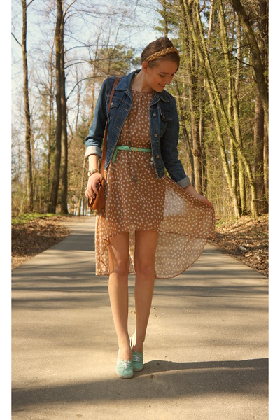 jeans vintage jacket - dots Primark dress - vintage bag