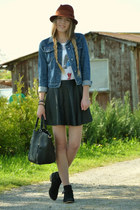 leather TKmaxx skirt - studded Primark shoes - c&a hat - jeans vintage jacket