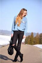 jeans vintage shirt - studded Primark boots - grey H&M jeans