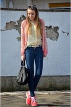 neon Esprit shirt - back Hallhuber bag - pink nike sneakers - vintage glasses